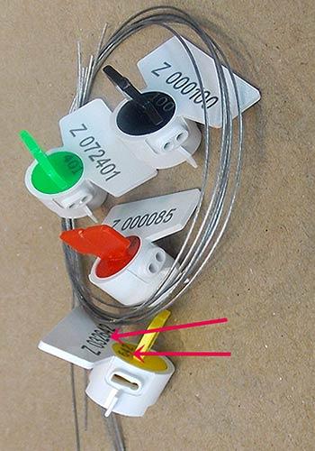 sellos con cable de 30 y 60 para medidor de agua, luz, bombas, etc...